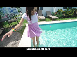 Beauty brunette Kiley Jay turns on her fucker by the pool and enjoys hardcore inside