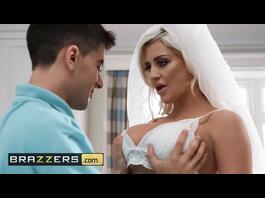 Slutty bride Sienna Day fucks with husband's two friends on their wedding day