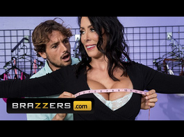 Delightful brunette milf Reagan Foxx comes to lingerie shop and fucks young assistant