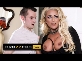 Luxurious blonde Rebecca Jane Smyth blowojobs and fucks hard her stepson