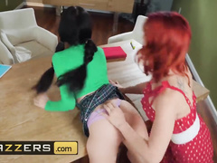 Ginger and brunette lesbians Jade Baker and Molly Stewart are tastily licking cunts