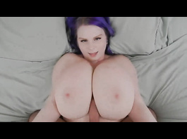 Giant boobed chick is pleasuring hot titty fuck with big dicked boyfriend
