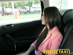 Nice young brunette babe got to fuck with cabdriver for fare