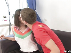 Adorable young brunette girl with glasses enjoyed hardcore anal fuck