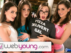 Three lesbian babes seduced young beautiful pizza girl