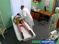 Fake doctor is healing hot teen brunette's back by fingering her young pussy